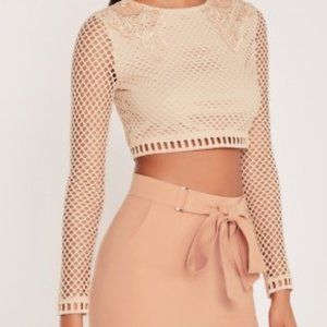 Missguided x Carli Bybel lace cropped blouse top